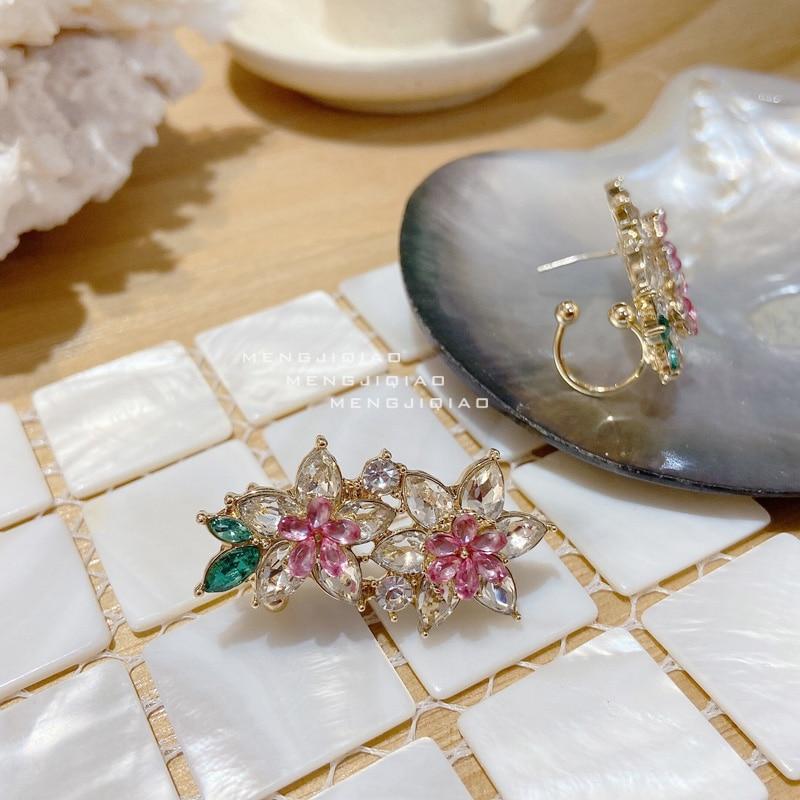 MENGJIQIAO Korean New Fashion Elegant Pink FlowerCrystal Holiday Stud Earrings For Women Girls Oorbellen Bijoux Party Gifts