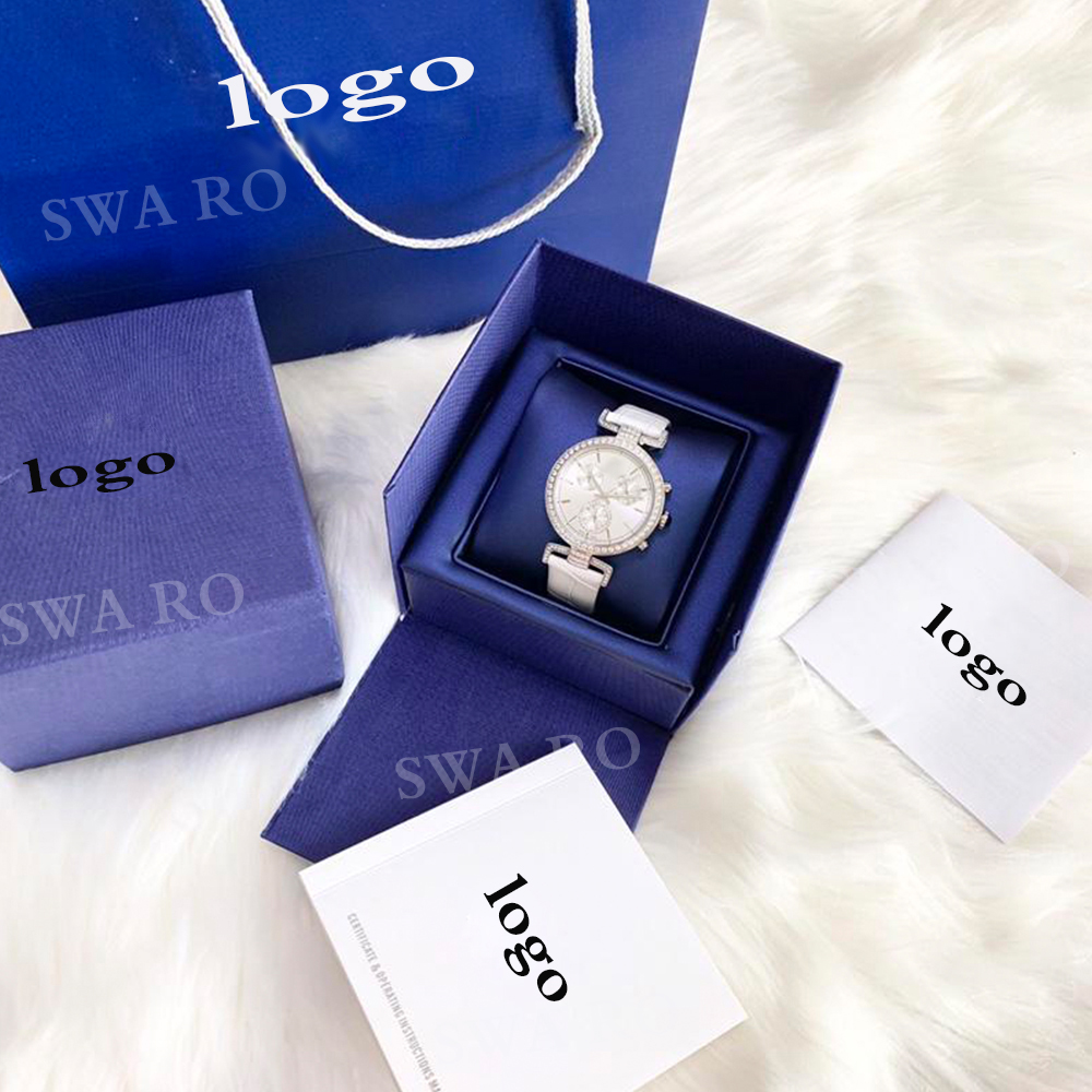 SWA mode nouvelle haute qualité SWA ère voyage montre blanc motif de rayonnement bracelet en cuir en acier inoxydable femmes montre en cristal - 3