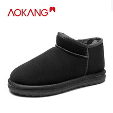 AOKANG 2019 Winter Snow Boots Men Comfortable Warm Short Plush Ankle Waterproof slip on Casual Shoes