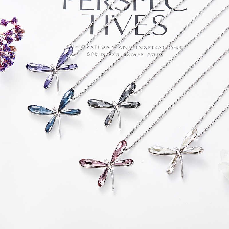 Cde colar feminino pingente libélula lnsect embelezado com cristais de swarovski corrente de cristal colar de luxo jóias presente