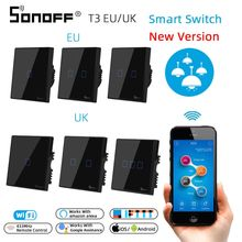 SONOFF T3 Wifi RF 무선 433mhz 원격 제어 벽 터치 스위치 라이트 패널 소켓 EU/UK 1/2/3 Gang Support Google 홈 Alexa