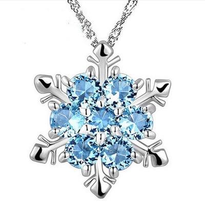 Snowflake Ice Snow Princess Elsa Necklace Rhinestone Crystal Pendants Zirconia Snow Flower Chain Necklaces  Wedding Jewelry