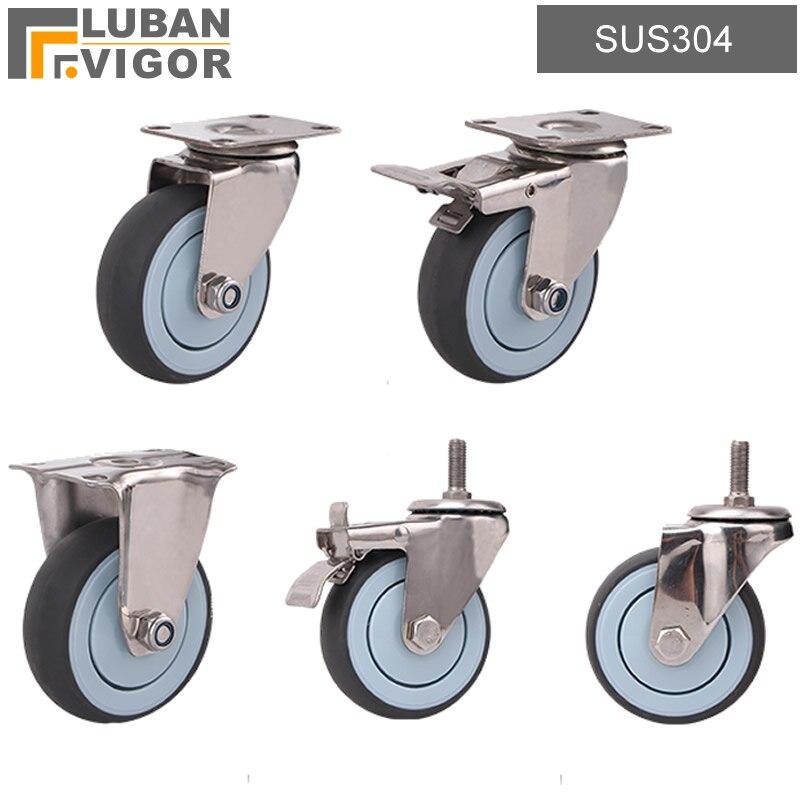 In acciaio inox 304 ruote ruote, 3 / 4/ 5 pollici, TPE ruota, Nessuna ruggine, medico ruota fabbrica di cibo Silenzioso ruota spinta piatto