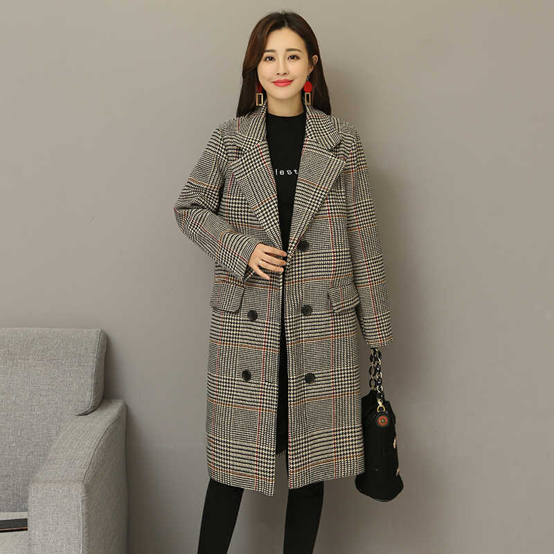 2018 herbst Winter Plaid Casual Büro Dame Mantel Weibliche Vintage Frauen Outwear Kaschmir Strickjacken Wind Warme Dame Lose Mantel