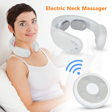 Electric Neck Shoulder Massager Pulse Rechargeable USB Cervical Traction Therapy Massage Stimulator Health Care Relaxation Tool health care smart rechargeable usb infrared heating neck massager electric relax cervical treatment acupuncture stimulator
