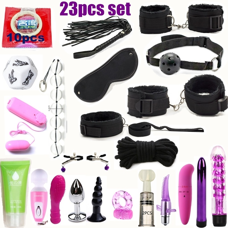 Erotic Toy 23pcs Set Bondage Vibrator Restraint Slave Game Sex Toys For Couples Flirt Handcuffs Whip Dilator Penis Plug