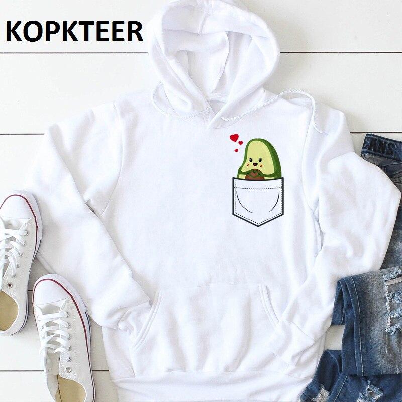 Harajuku Hoodies Women Sweatshirt Hooded Pocket Cute Love Avocado Print Winter Hoodies 2019 Fashion Sweatshirts Plus Size