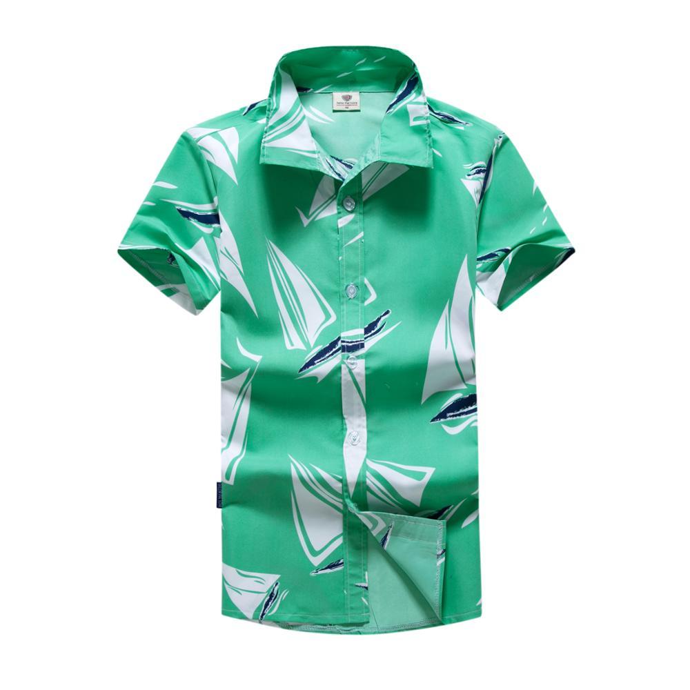 Mens Hawaiian Print Shirt Beach Party Summer Holiday Short Sleeve Fancy Tee Top