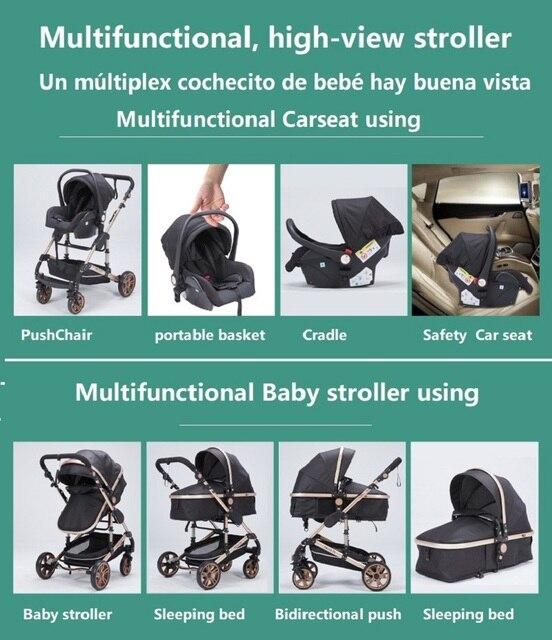 Carrinho de bebê 3 em 1 luxo guarda-chuva bebê recém-nascido carrinhos alta paisagem dobrável carrinhos de bebê carrinho de bebê carrinho de bebê 6
