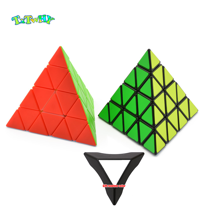 4x4x4 Pyramid Cube Black/Stickerless Magic Cube KiloPyramid Cube 4x4 Speed Puzzle Cube Educational Fidget Magico Cubo Toys Gifts