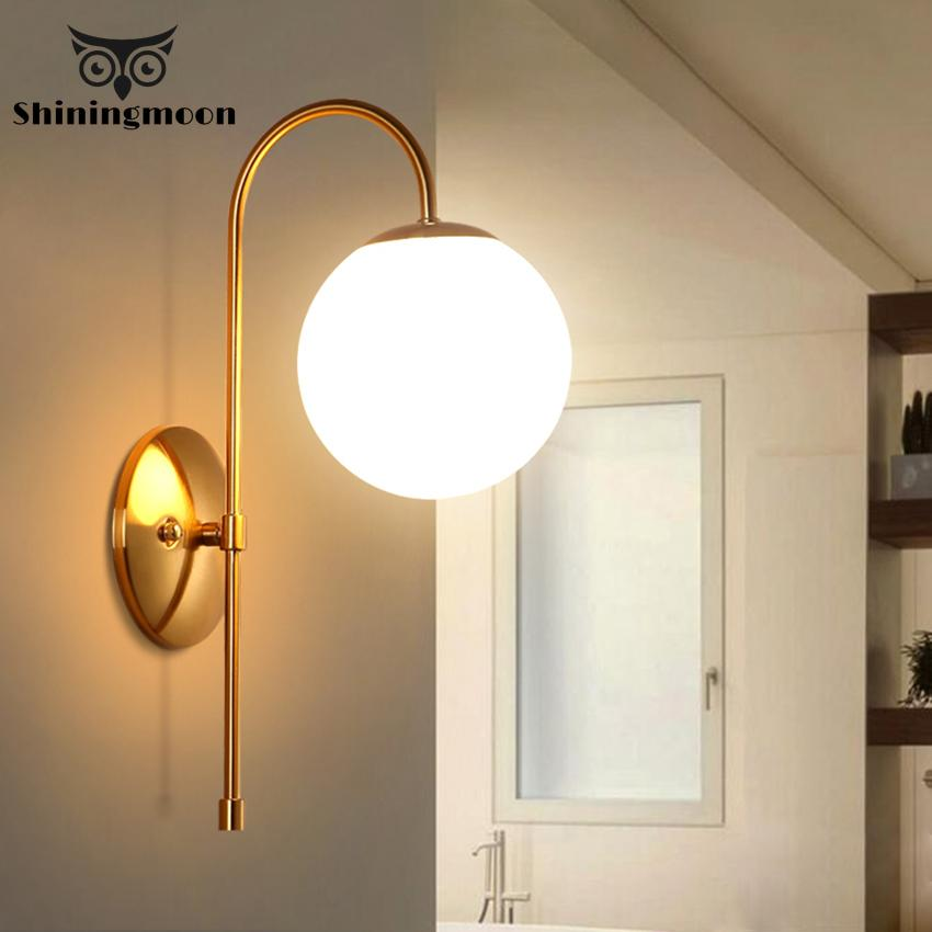 Modern Led Glass Wall Light Hotel Cafe Wall Lamps Golden Fashion Wall Lamp Lights Bedroom Hallway Decoration Lighting Luminaire