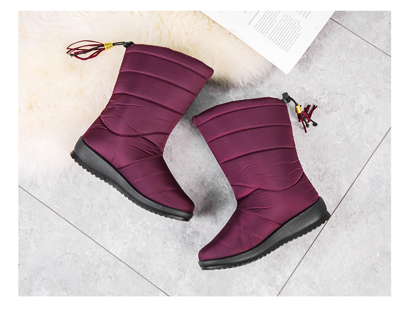2020 Winter Boots Women Winter Shoes Mid-Calf Waterproof Snow Boots Wedges Warm Fur Female Boots Shoes Woman Footwear Chaussures