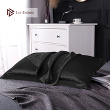 Liv-Esthete Free shipping Stain Silk pillowcase pillow case for healthy standard Queen King Multicolor For Women Man