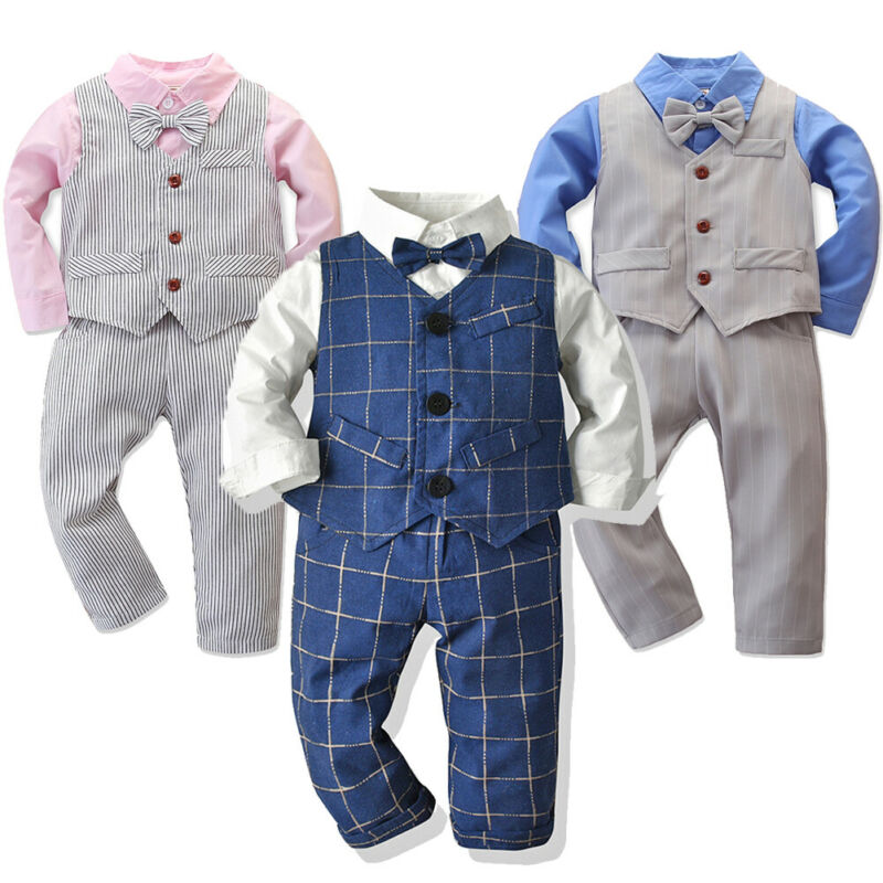 Baby Kids Boys Formal Suit Party Wedding Tuxedo Gentleman Romper Jumpsuit Outfit