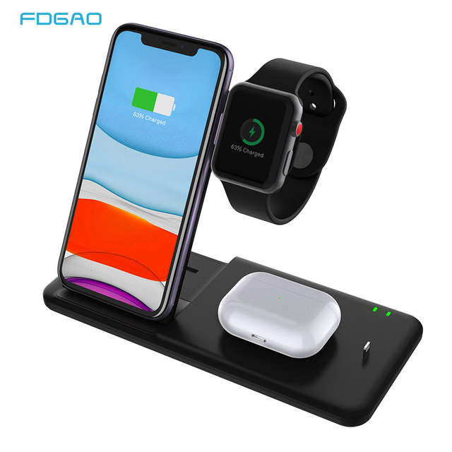 15W Qi Wireless ChargerสำหรับiPhone 11 Pro X XS MAX XR Fast Wireless Chargingขาตั้ง 4 ใน 1 สำหรับAirpods Pro Apple 5 4 3 2
