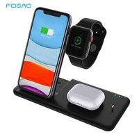 Carregador sem fio qi 15 w para iphone 11  pro x xs max xr  carregamento rápido 4 em 1  suporte para airpods pro apple watch 5 4 3 2 1