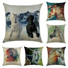 Animal Series Linen Pillowcase Pentium Horse Pattern Printing Decorative Office Sofa Pillow Cushion Cover 45x45cm swans heart pattern decorative linen pillowcase