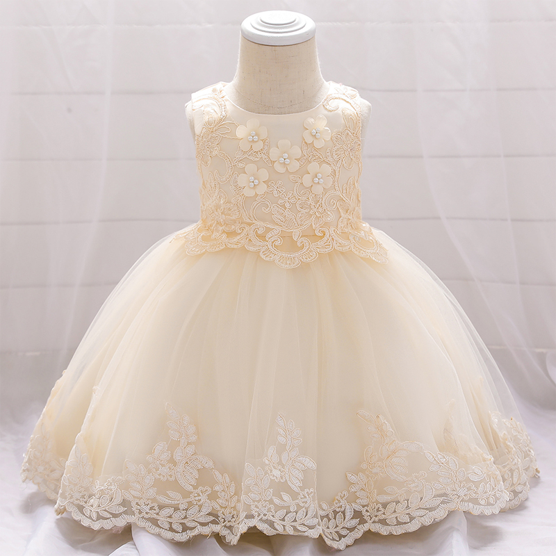 2020 Summer First Birthday Dress For Baby Girl Clothes Newborn Floral White Dress Princess Party Ball Gown Toddler Infant Dress