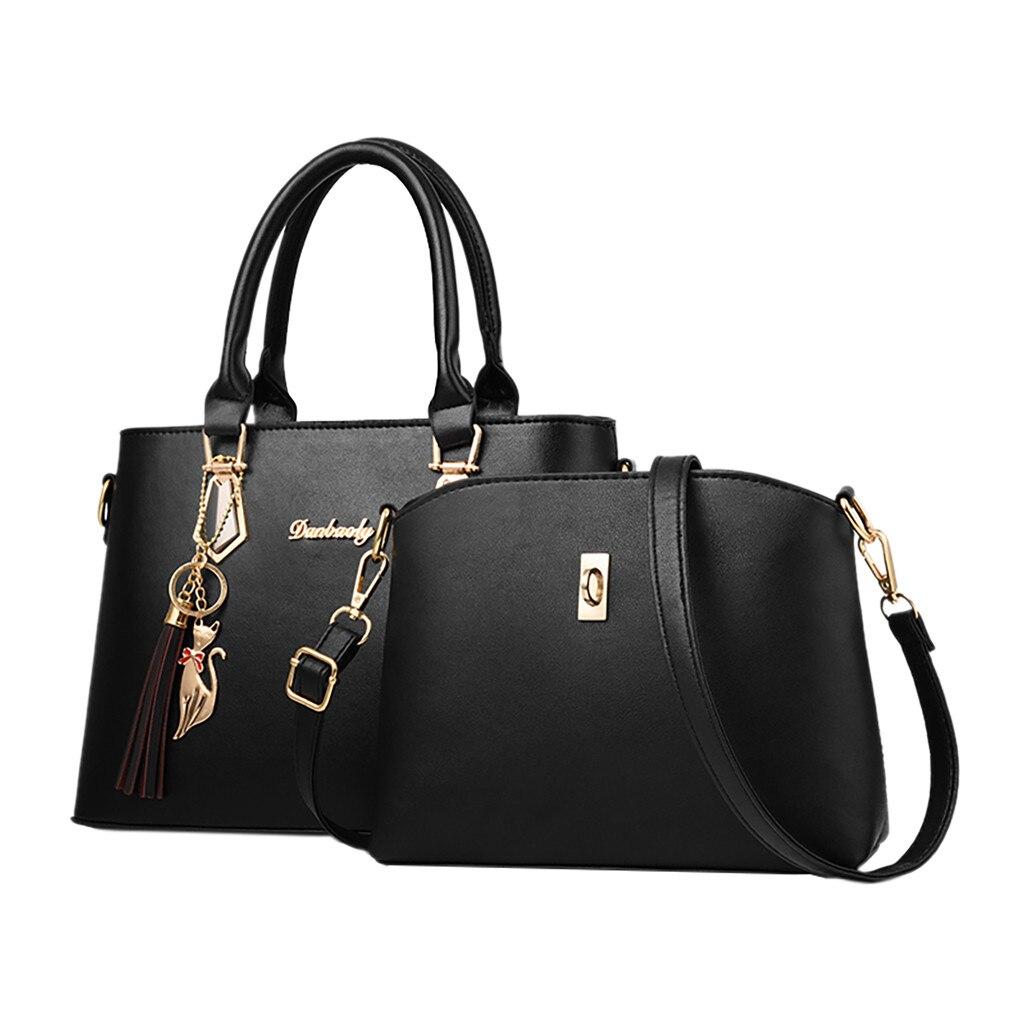 Women Luxury Set Bag Fashion Handbags 2pcs Tassel Tote Bag Shoulder Bag High Quality Top Handle Satchel Purse Set Crossbody Bags