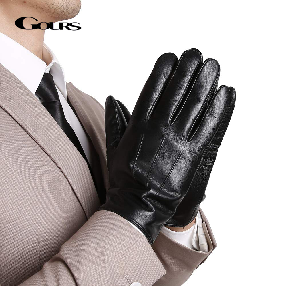 GOURS Genuine Leather Winter Gloves For Men Fashion Black Real Sheepskin Touch Screen Hand Driving Glove 2019 New Mittens GSM058