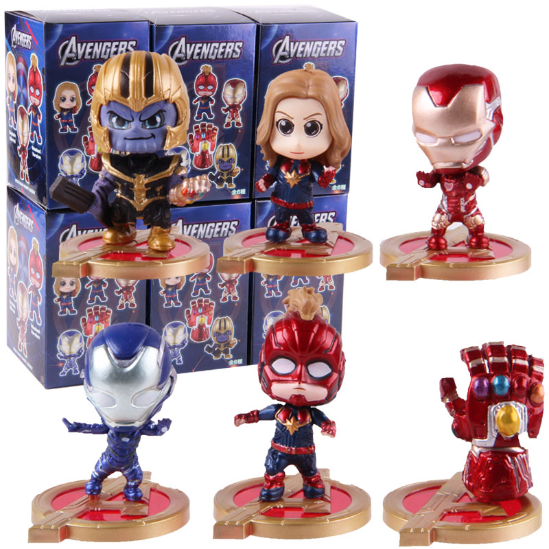 Hot Toys Cosbaby Avengers Infinity Gauntlet Thanos Captain Marvel Iron Man PVC Action Figures Toys 6pcs/set