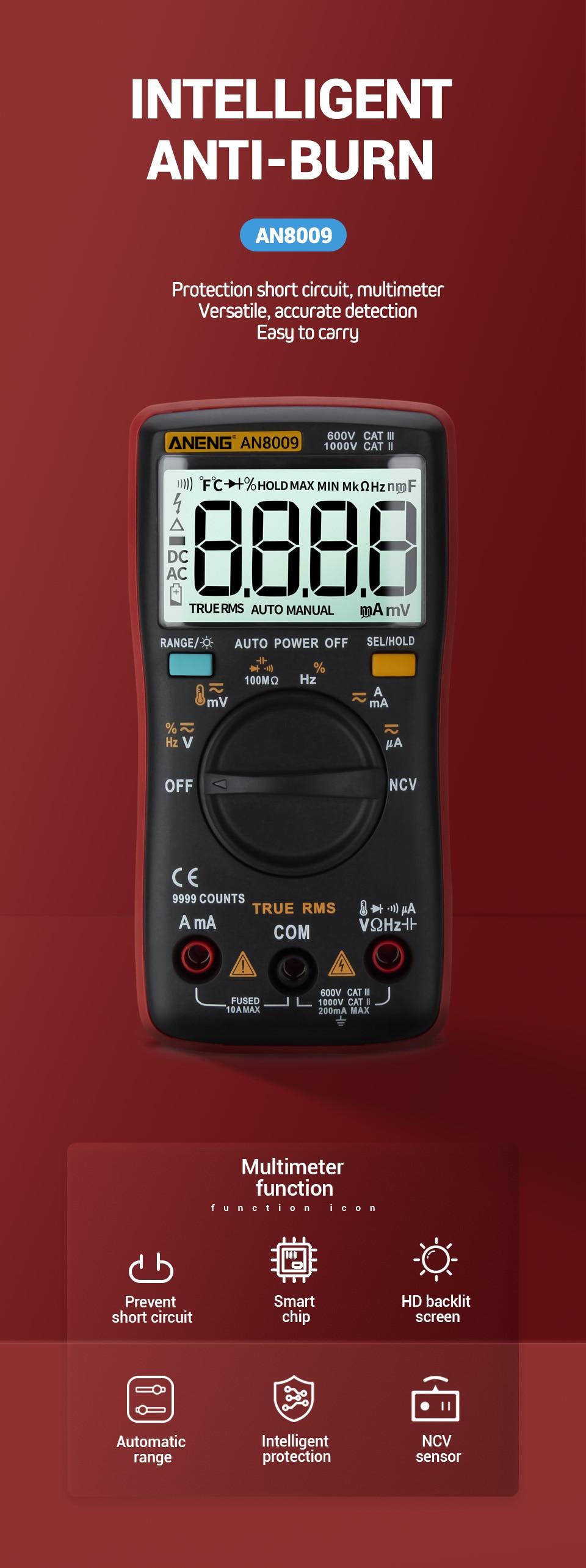 Hb24a616cc4e14cd79c4c652266c15d0cT ANENG AN8009 True-RMS Digital Multimeter transistor tester capacitor tester automotive electrical capacitance meter temp diode