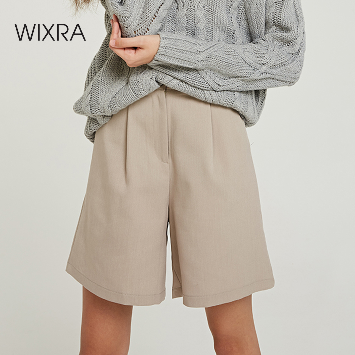 Wixra 2019 New Solid Casual Women's Shorts High Waist Pockets Summer Shorts All Base Match Ladies Bottom