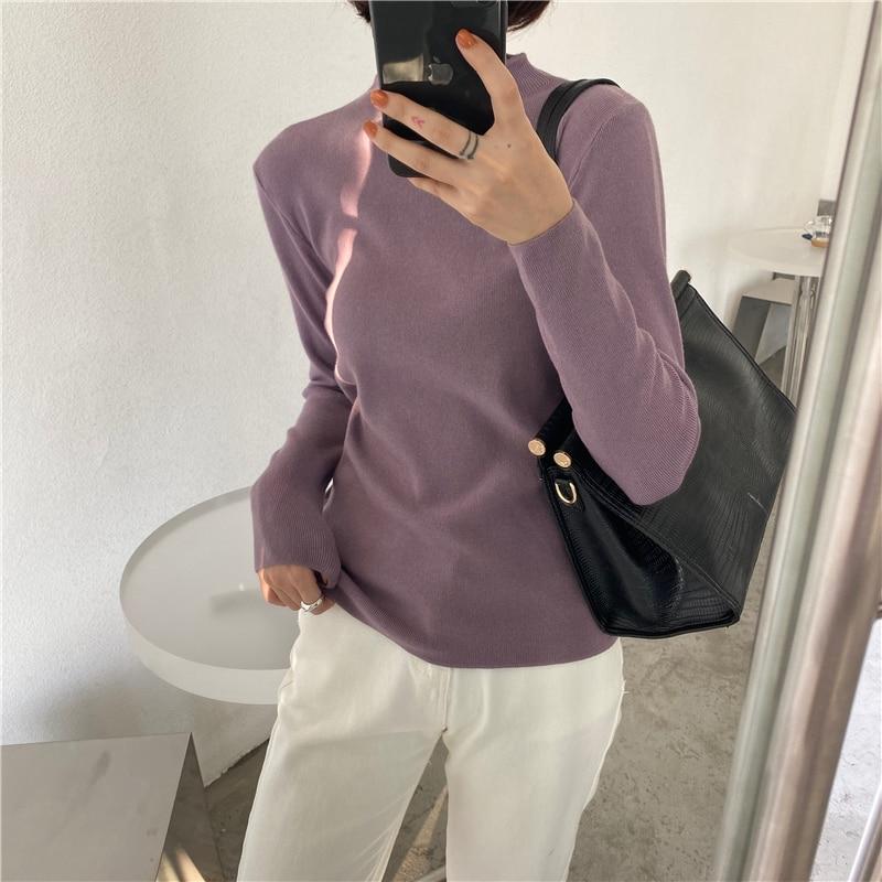Купить корейский стиль повседневный базовый осенне зимний свитер женский