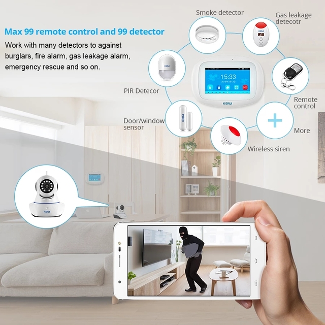 KERUI K52 WIFI GSM Alarm System 4.3 Inch Large TFT Touch Screen Home Security System Wireless Siren Motion Sensor Door Sensor 5