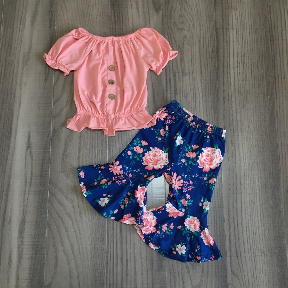 Baby Girl Girls Summer Outfits Girl Solid Coral Top Blue Floral Capri Bell Bottom Pant