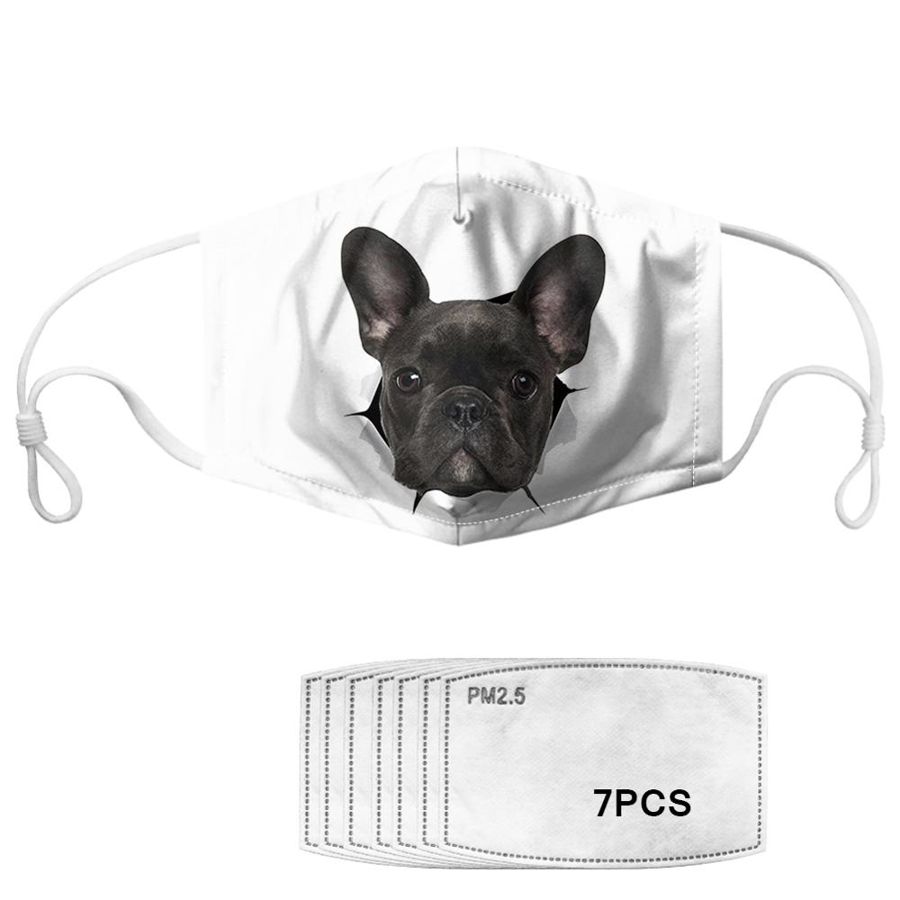 Cute Animal French Bulldog Printed Kids Masks With 7pcs Filters Washable Reusable Children Face Mask Dustproof Mask
