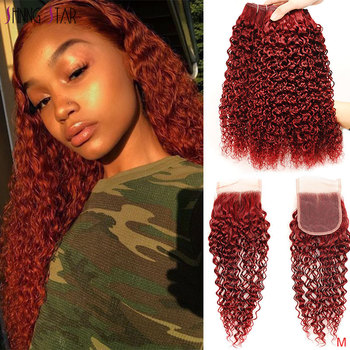 Peruvian Hair Bold Red Kinky Curly Bundles With Closure 99J Burgundy Bundles With Closure Shining Star Remy Human Hair Weave