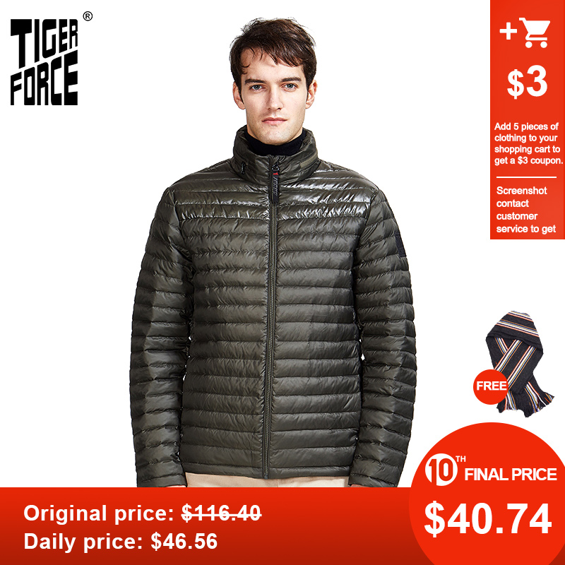 TIGER FORCE 2020 New Spring Autumn Men's Warm Casual Jacket High Quality Hood  Coat Outerwear Zipper Down Ultralight 50601