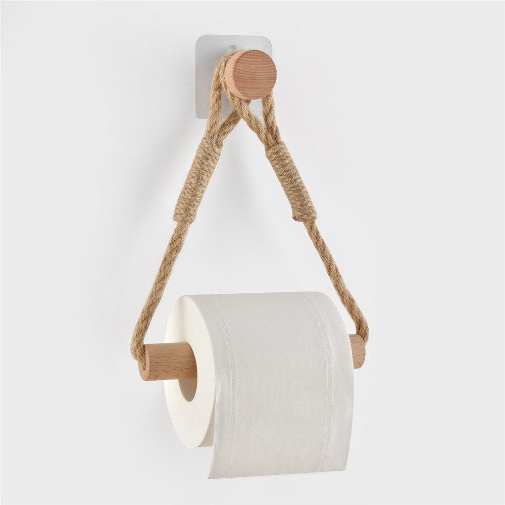 1 шт. Креатив плетение дерево рулон держатель деревня дом туалет бумага держатель унитаз ванная ретро стена крепление веревка