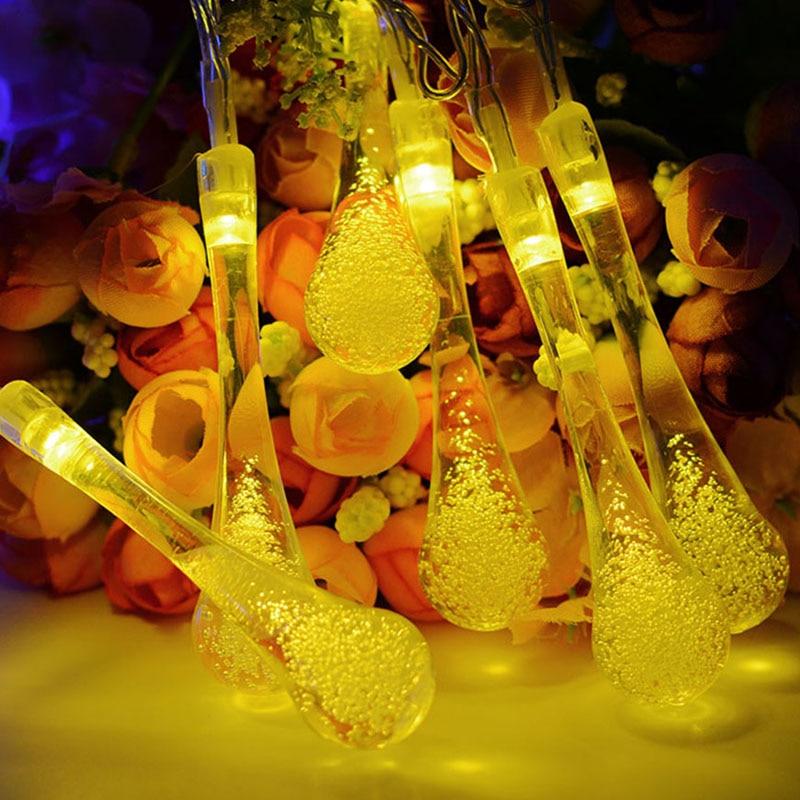 Warm White Raindrop Solar Lamp Waterproof Christmas Holiday Outdoor Garden Decoration Fairy Solar Battery String Light|Lighting Strings| - AliExpress