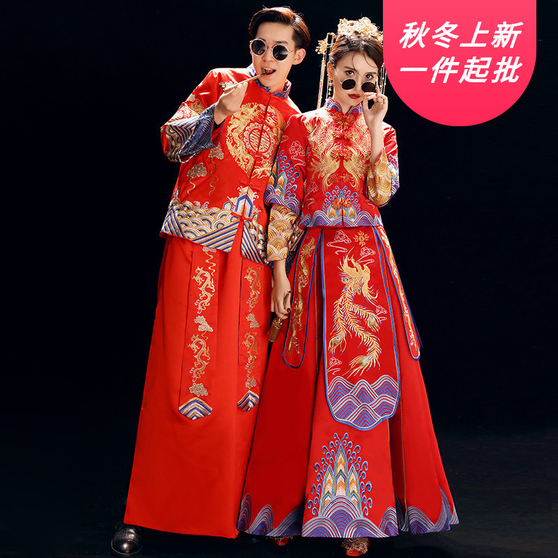 2020 Terno Noivo Colete Gravata Clothing Bride 2020 New Spring Wedding Dress Chinese Bridegroom Xiuhe Men And Women Suit Couple