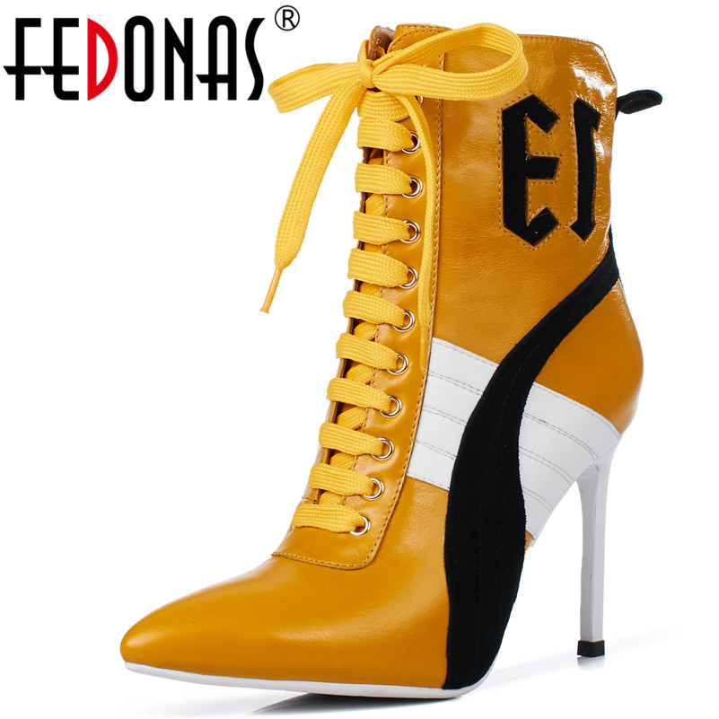 FEDONAS New Brand Sports Women Ankle Boots Genuine Leather Chelsea Boots Thin Heels Dancing Shoes Woman Plus Size Warm Boots