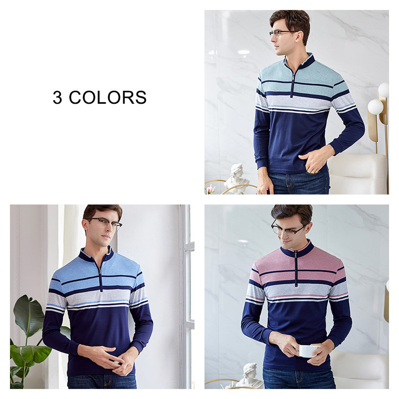×Big SaleUCAK Spring-Tshirt Turn-Down-Collar Streetwear Long Striped Casual Brand 100%Cotton Men¡