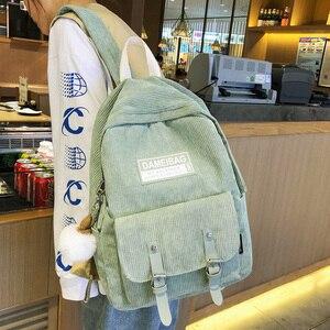 Image 2 - Милый вельветовый рюкзак в полоску, милый школьный ранец для женщин, роскошный рюкзак для девочек подростков в стиле Харадзюку, модная женская сумка для учебников