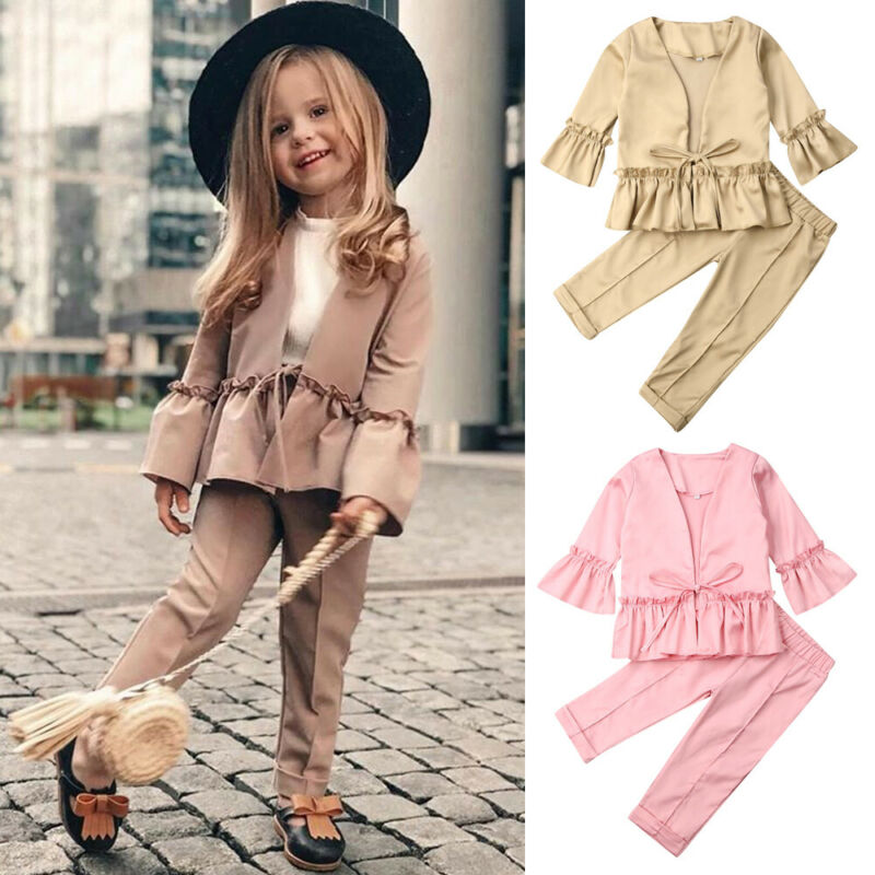 2PCS Toddler Kids Baby Girl Outfit Long Sleeve Dress Tops+Pants Clothes Set Suit