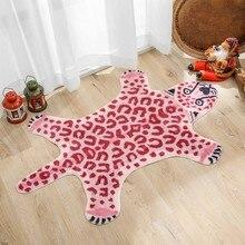 Тигровый коврик с леопардовым принтом, Нескользящие напольные зоны для гостиной, розовый кухонный коврик, домашний коврик для домашних жив...