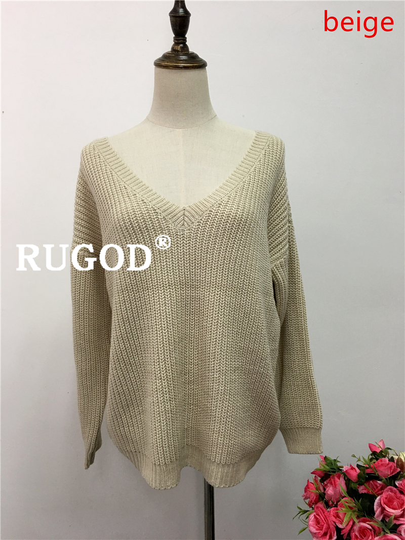 Rugod 19 New Sexy Backless V-neck Sweater Women Pullover Autumn Winter Casual Knitted Sweater Femme Tricot Pullover Jumpers 10