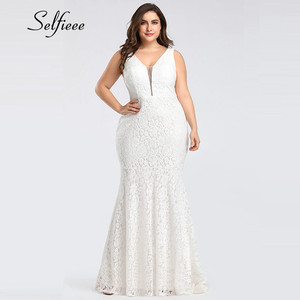 Image 4 - 白レースドレス女性エレガントなマーメイドvネックノースリーブロングフォーマルパーティードレスイブニング夜の摩耗プラスサイズのドレスローブファム