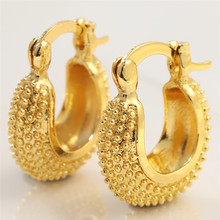 Hoop-Earrings Jewelry Geometric-Bead Gold-Plated Yellow 14-K Wedding-Party Vintage Women