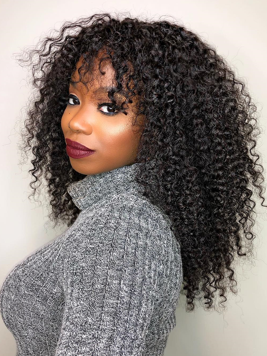 Dolago Wig Bangs Human-Hair-Wigs Lace-Frontal 250-Density Pre-Plucked Deep-Curly 13x6