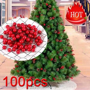 100 sztuk 10mm sztuczne czerwone Holly Berry Christmas dekor w kształcie drzewa na drut pakiet wianek wianek sztuczne owoce wystrój dekoracje weselne tanie i dobre opinie CN (pochodzenie) CP626 Bez pudełka Artificial Holly Berry Artificial Dried Flowers Artificial Flowers Flower Bouquet