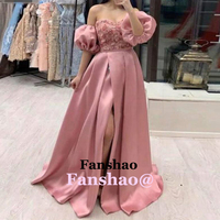 Pink Puff Sleeves Evening Dress Sweetheart Appliques Slit Formal Party Prom Saudi Arabric Dubai Vestidos de Fiesta Custom Made