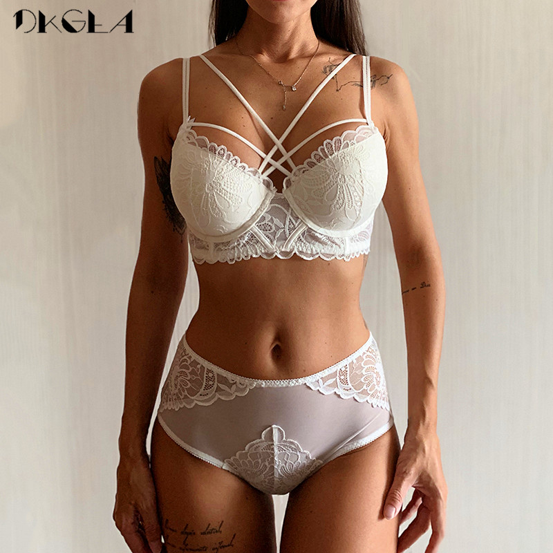 NEW Brand Sexy Underwear Set White Bras Gather Cotton Thick Brassiere Lace Embroidery Lingerie Set Women Deep V Push Up Bra Sets