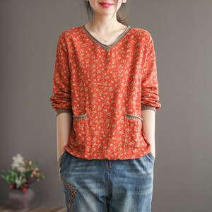 Autumn Long-Sleeve shirt Basic-Tshirt Loose Tee Linen Ladies Top V-Neck Casual Cotton