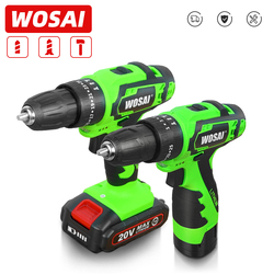 WOSAI 12V 16V 20V Impact Electric Screwdriver Cordless Drill Impact Drill Power Driver DC Lithium-Ion Battery 3/8-Inch 2-Speed